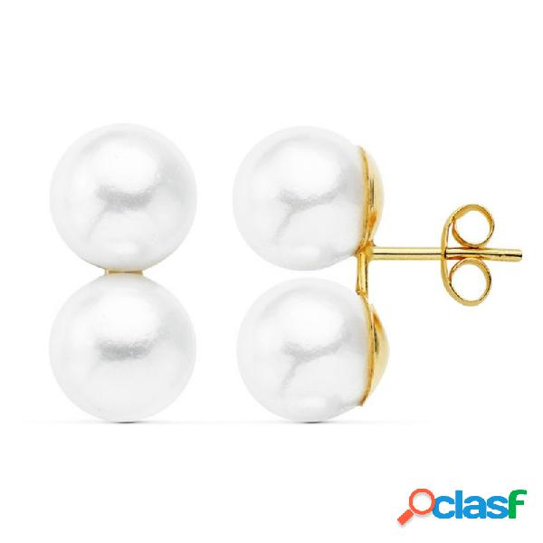 Pendientes oro 18k Tu y Yo dos perlas imitación