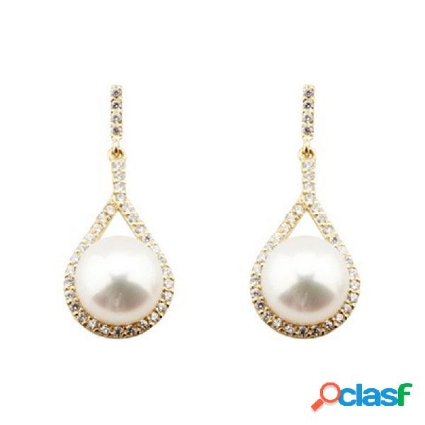 Pendientes oro 18k largos lágrima circonitas perla