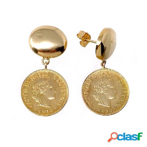 Pendientes oro 18k largos monedas antiguas