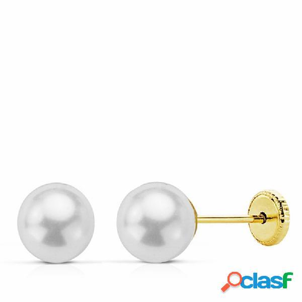 Pendientes oro 18k perla 6mm. cierre tornillo
