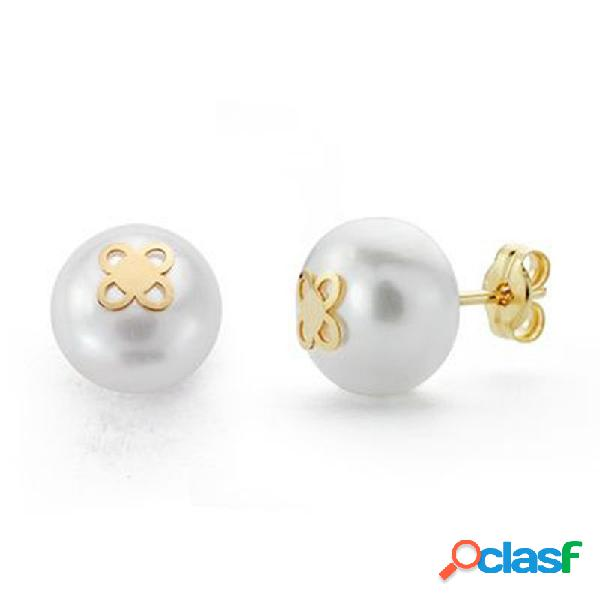 Pendientes oro 18k perla 9mm. cultivada botón 4 pétalos
