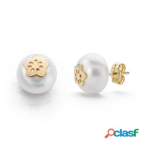 Pendientes oro 18k perla 9mm. cultivada botón 5 pétalos