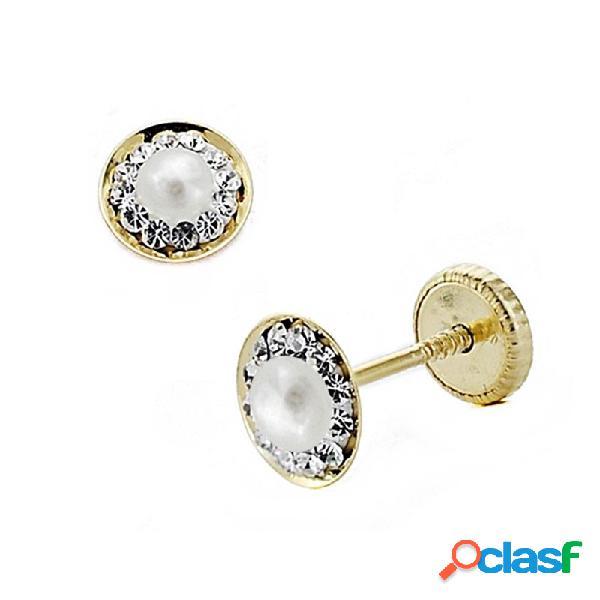 Pendientes oro 18k redondo circonitas 6mm. perla piedra fina