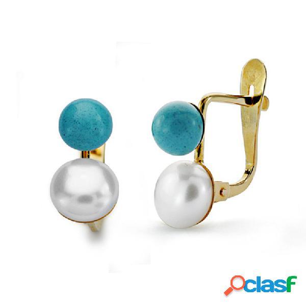 Pendientes oro 18k tu y yo perla 6mm. y turquesa