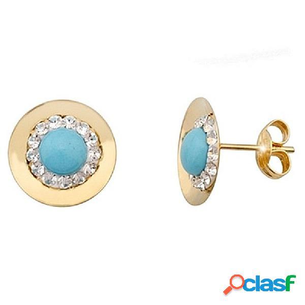 Pendientes oro 9k redondo centro turquesa y cristal en