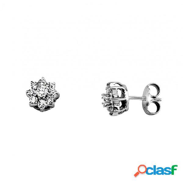 Pendientes oro blanco 18k flor 2 diamantes brillantes 3.3mm.