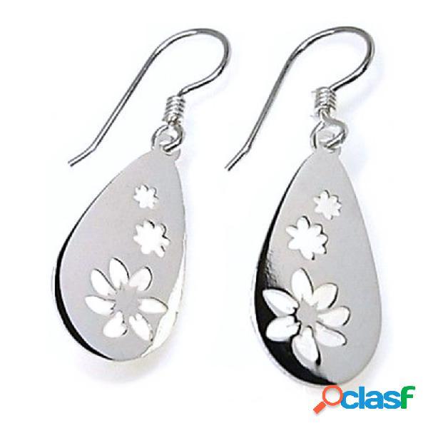 Pendientes plata Ley 925m gota 20 mm. motivos flores caladas