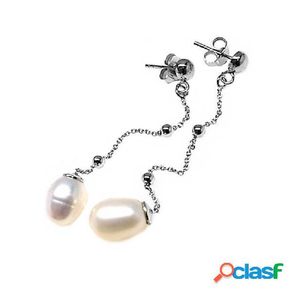 Pendientes plata Ley 925m media bola cadena bolas perlas