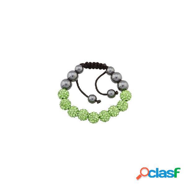 Pulsera Fantasy bola cristal verde oliva