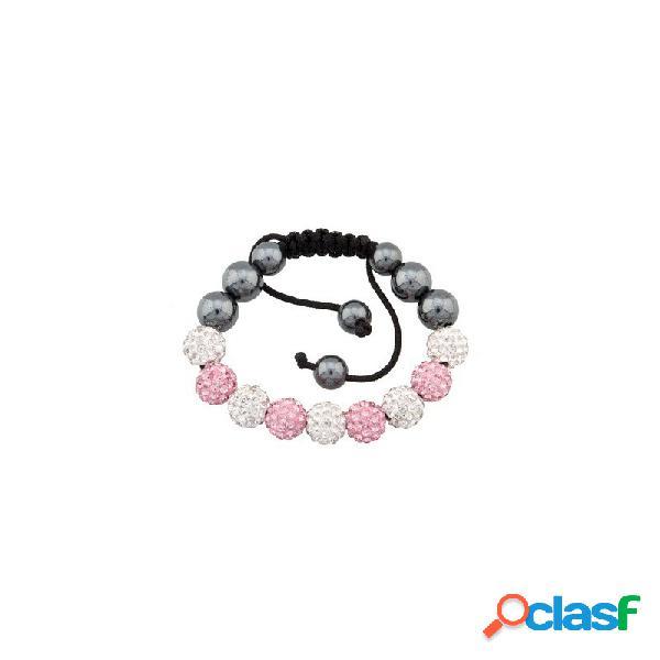 Pulsera Fantasy bola rosa y cristal