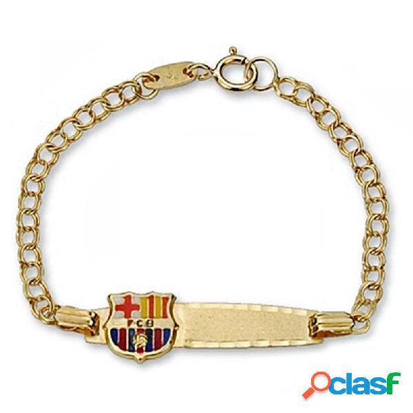 Pulsera escudo F.C. Barcelona oro de ley 18k esclava bebé