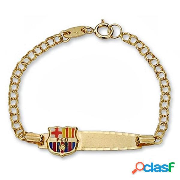 Pulsera escudo F.C. Barcelona oro de ley 9k esclava bebé