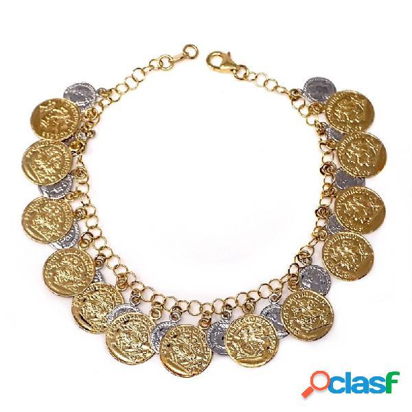 Pulsera oro 18k bicolor 19.5cm. monedas antiguas medallas