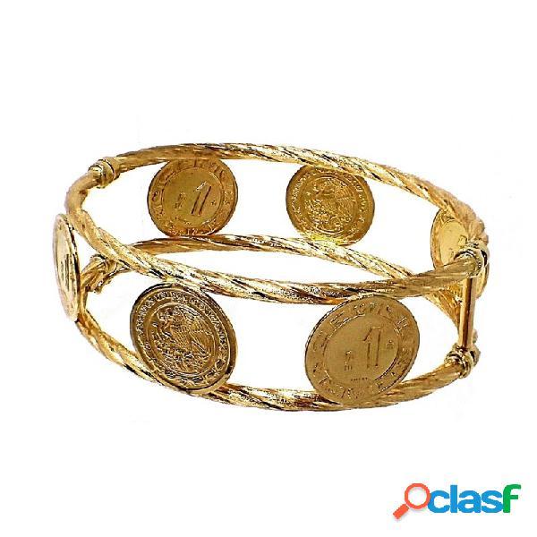 Pulsera oro 18k rígida monedas antiguas dólar ovalada