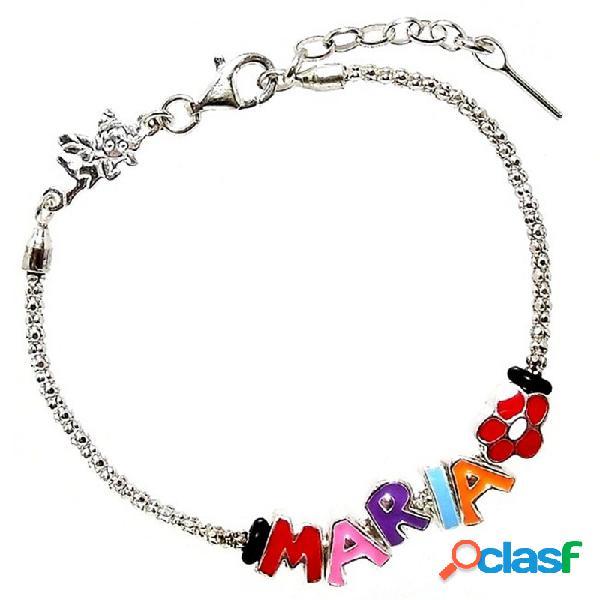 Pulsera plata Hada cordón coreano 5 letras MARÍA y charms