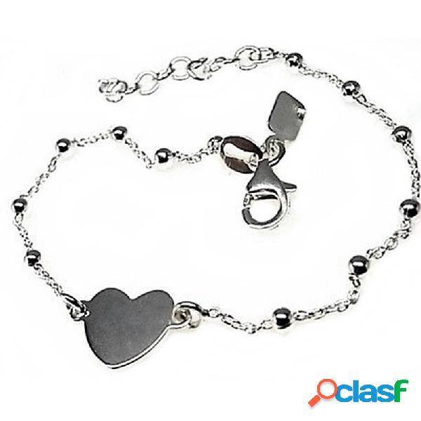 Pulsera plata Ley 925m cadena combinada bolas corazón 10