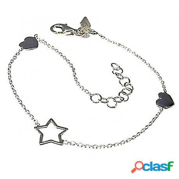 Pulsera plata Ley 925m cadena finita motivos estrella
