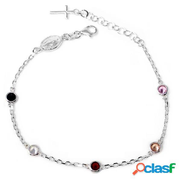 Pulsera plata Ley 925m rosario circonitas colores cruz