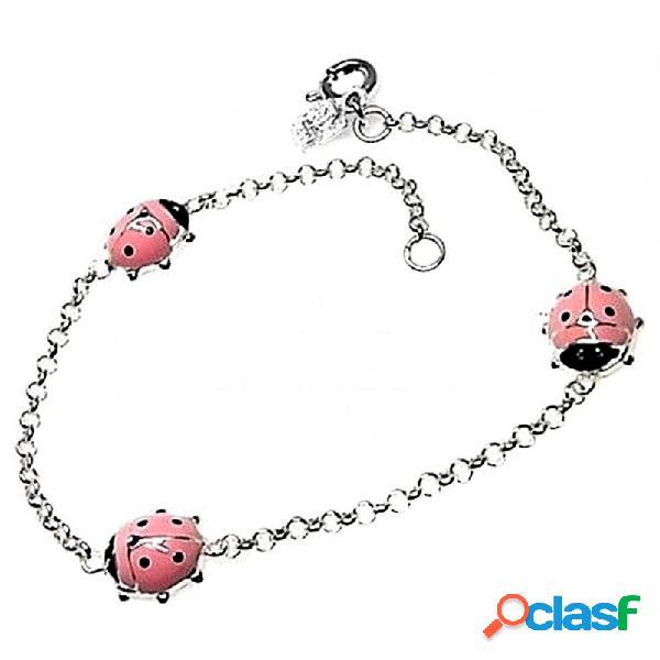 Pulsera plata ley 925m cadena rolo mariquita esmaltada rosa