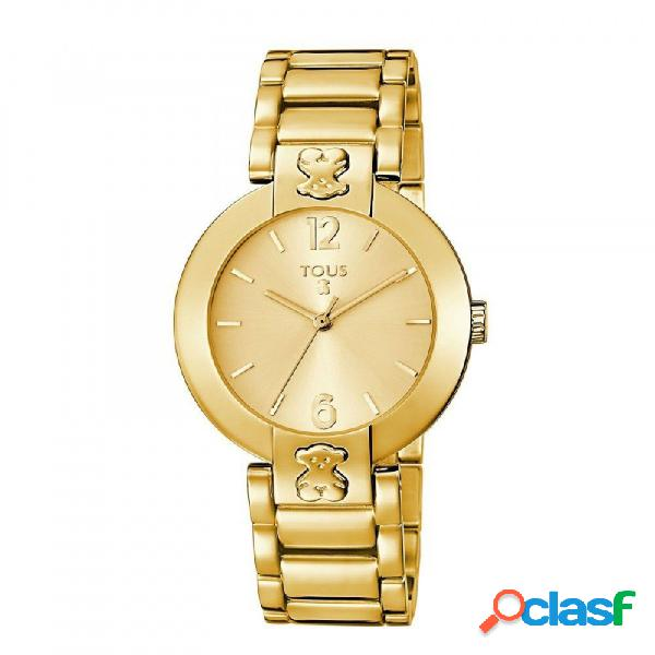 Reloj Tous mujer Plate Round dorado símbolo oso 400350945