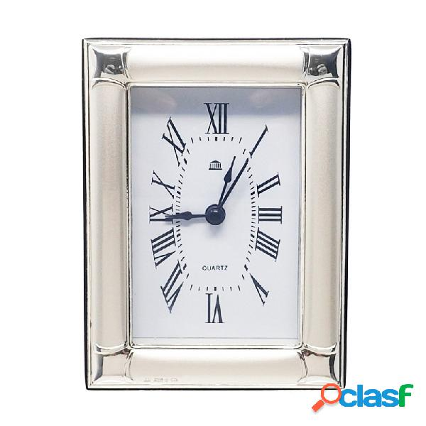 Reloj despertador plata Ley 925m brillo trasera madera