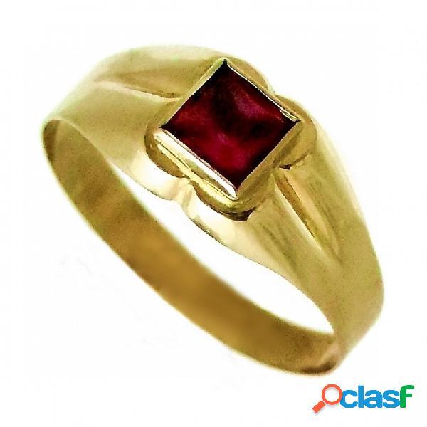Sello oro 18K bebé piedra cuadrada roja brillos rosas