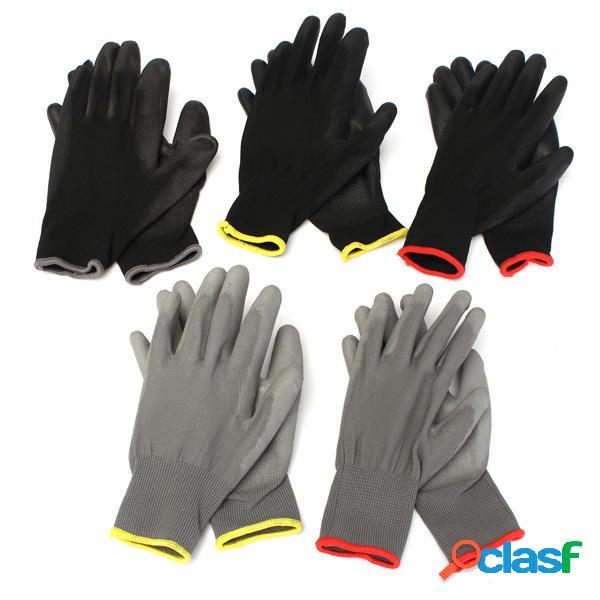 1 par de guantes de trabajo de la PU de la palma de nylon