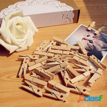 100pcs 35mm naturales clips de papel de fotos de madera