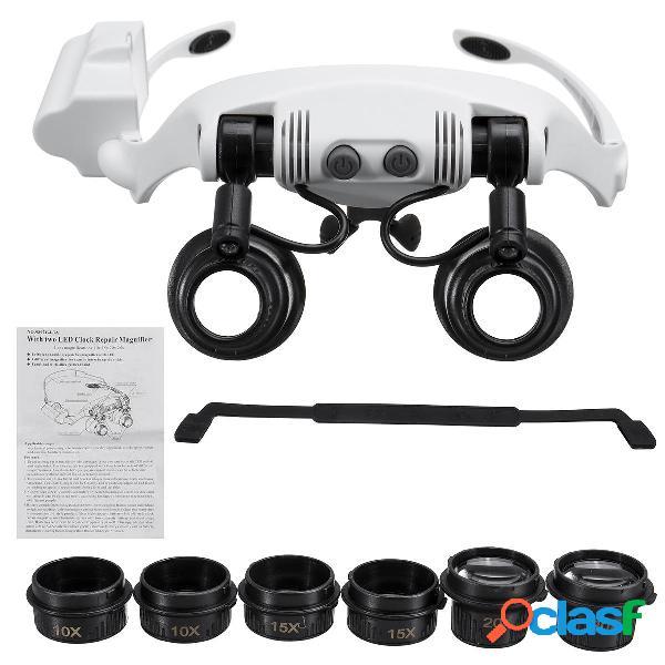10X 15X 20X 25X LED Lupa Gafas Joyería Lupa Lupa Binocular