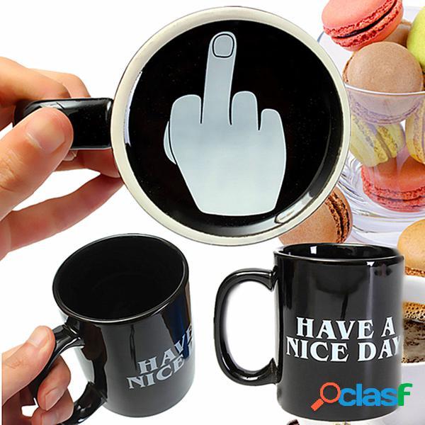 10oz regalos de oficina dedo corazón tazas de café de