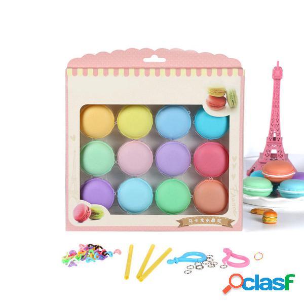 12pcs Macaron Crystal Slime Fluffy DIY Squishy burbujas