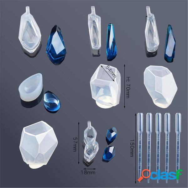 13 Unids / set Molde de fundición de resina Silicona Ágata