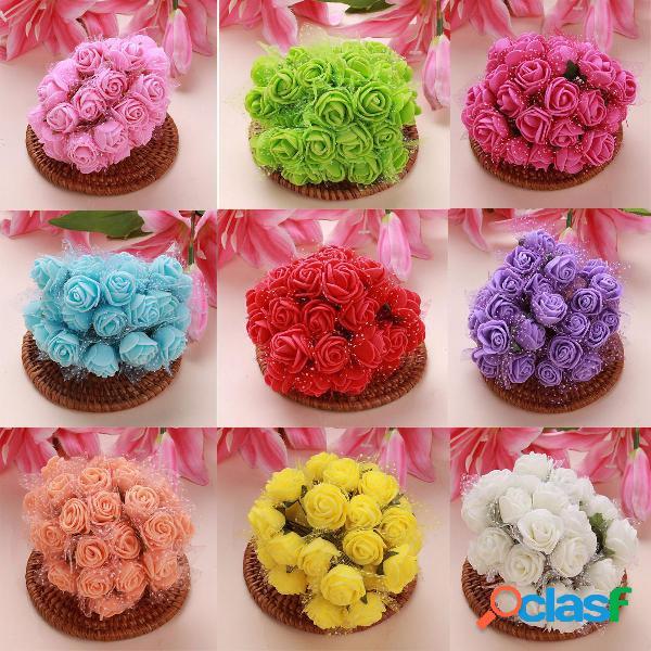 144pcs Artificial Colourfast Foam Rose Flowers Boda Novia