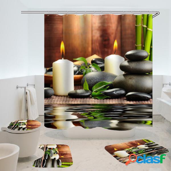 180x180CM Impermeable Cuarto de baño Bamboo Stone Candle