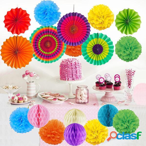 19 piezas de papel de seda pompones bolas de flores pompón