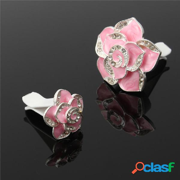 2 PCS Camellia Flower Styling Coche Perfume Ambientador Clip