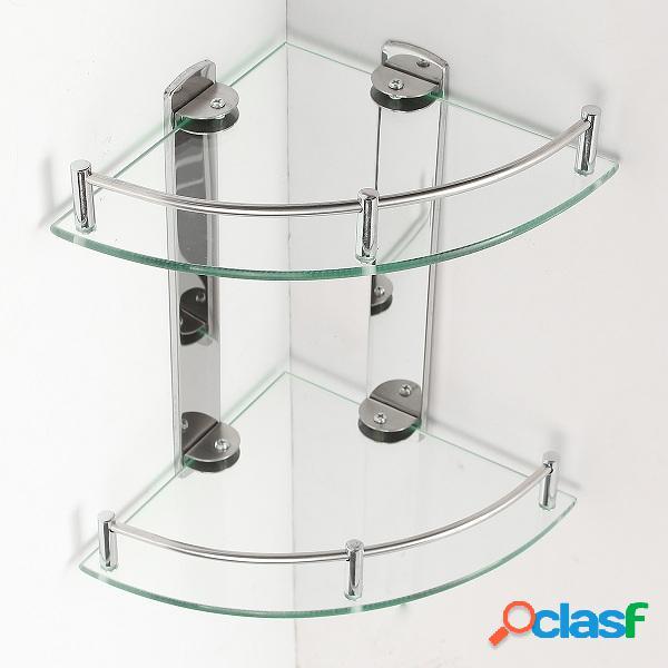 2 capas de vidrio Cuarto de baño Estante de esquina