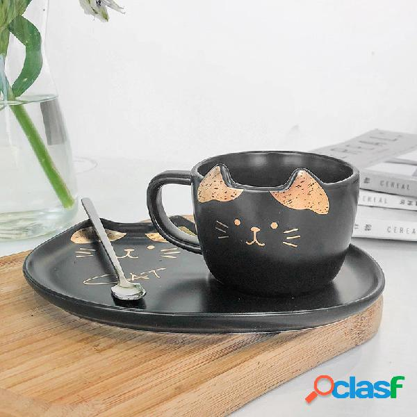 200ML Gato Oro Cerámico Taza de café Plato Restaurante con