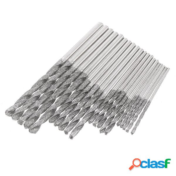 20pcs 1.0 / 1.5 / 2.0 / 2.5mm Diamond Coated Twist Taladro