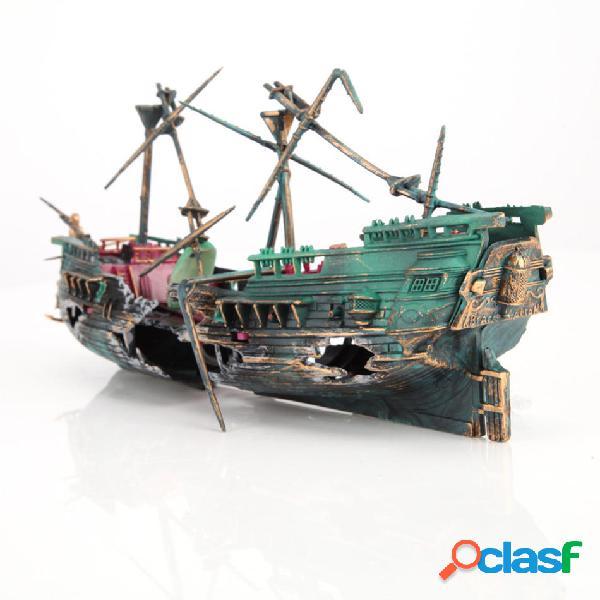 24 * 12 cm Grande Acuario Decoración barco Plactic Acuario