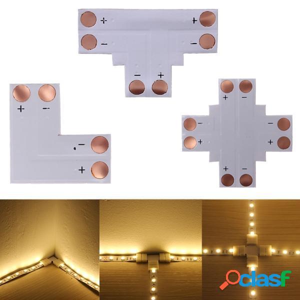 2pin LED esquina conector t forma para 10mm 5050 LED tira de
