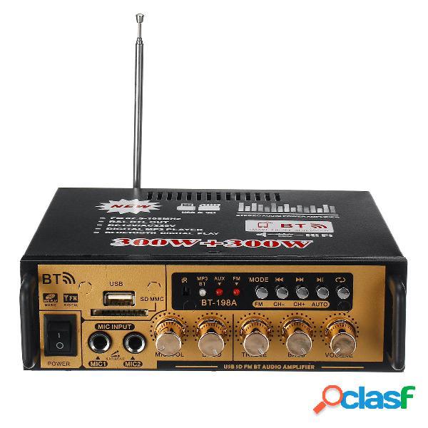 300W + 300W Power Stereo Audio Amplificador bluetooth FM USB