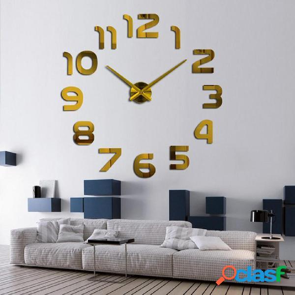 3D Frameless Wall Reloj Modern Mute Large Mirror Surface DIY