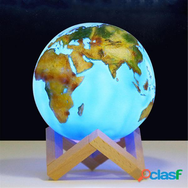 3D Painted Earth Lámpara Interruptor táctil Luz de