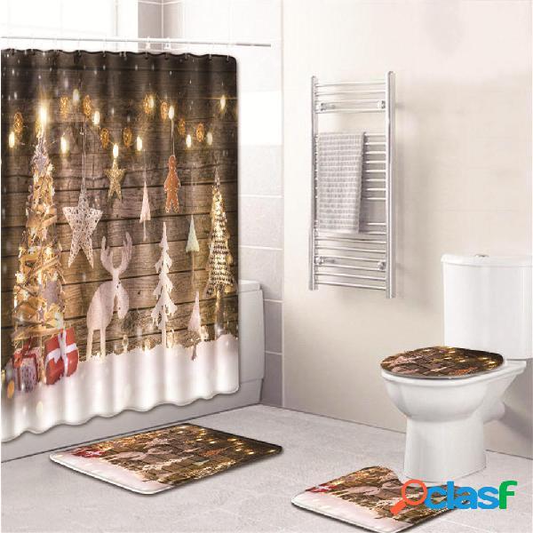 3PCS Cuarto de baño Juego de alfombrilla de baño Funda de