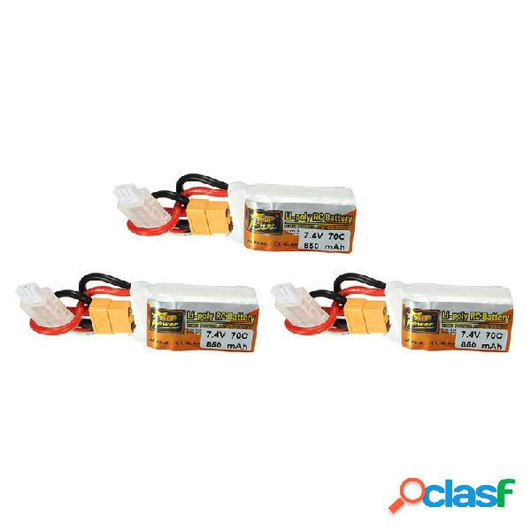 3Pcs ZOP Power 7.4V 850mah 70C 2S Lipo Batería XT60 Enchufe