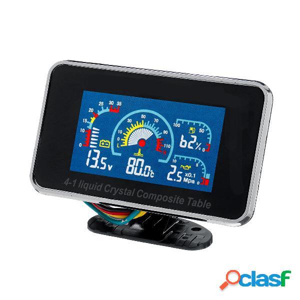 4 en 1 LCD Coche Voltímetro de indicador de ALARMA digital
