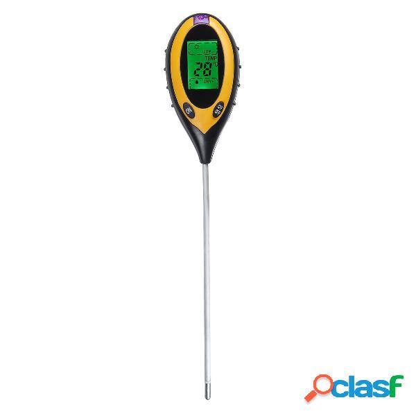 4 en 1 LCD Medidor de humedad del suelo PH Medidor de prueba