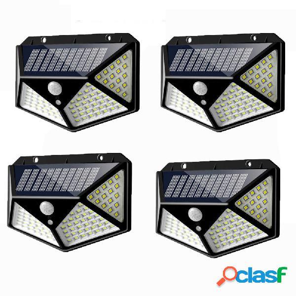 4 piezas 100 LED Solar Powered PIR Motion Sensor Aplique al