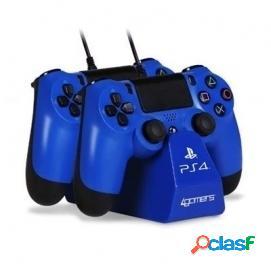 4Gamers Base de carga doble para mandos + Cable Azul PS4